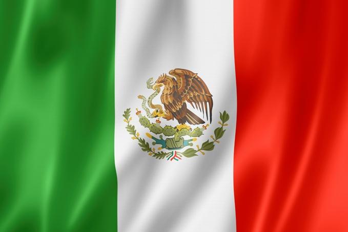 Mexico flag, three dimensional render, satin texture