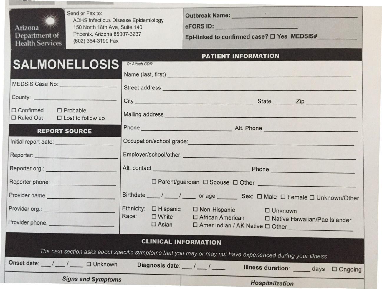 Salmonella questionnaire